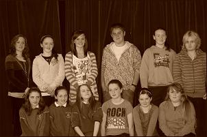 Back row right to left; Joanne Hudson, Meabdh Mc Carthy, Conor Mulpeter, Sara Ryan, Katie Conlan, Niamh Conlan.front row right to left; Jessica Farrelly, Emily Conlan, Megan Kavanagh, Sinead Freeman, Sara Barrett, Leah Halford