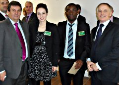 Sean Ashe, CEO of Kildare VEC, with Katie Curran, Joel Akinola and Cllr. Richard Daly, Principal of Athy College