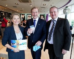 Taoiseach Enda Kenny (centre) launching the Co. Kildare Strategic Plan 2012-2015 accompanied by Eilis Quinlan, President of North Kildare Chamber (left) and David O'Reilly, President of Newbridge Chamber (right)