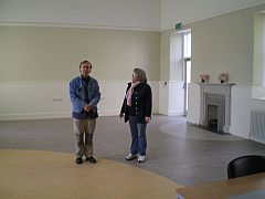 William Finnie and Margaret Becker of Leinster Print Studio in the new parish hall, Clane