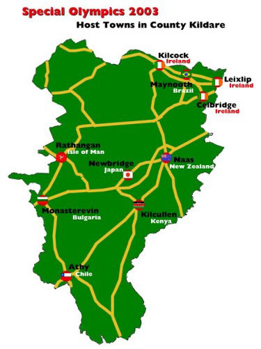 Map Of Host Towns In Kildare Special Olympics 2003 Kildare