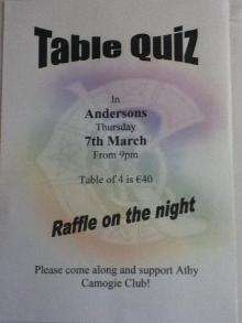 Athy Camogie Club Table Quiz