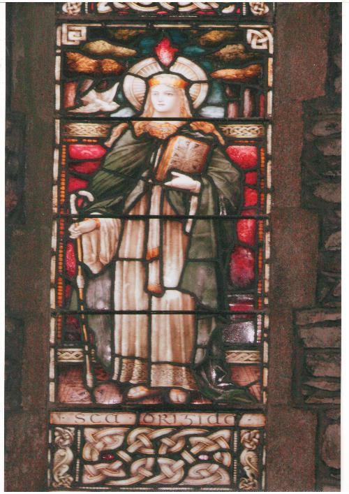 stained glass window of St.Brigid from St.Brigid's Cathedral, Kildare Town