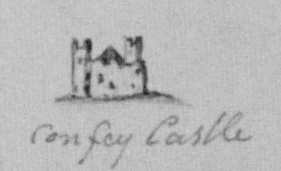 Thumb-nail sketch of Confey Castle ruin ~1800