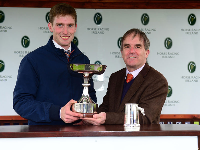 Eoin Lane accepting the Champion Trainer Title on behalf of Aidan O'Brien, and Champion Jockey Title on behalf of Donnacha O'Brien