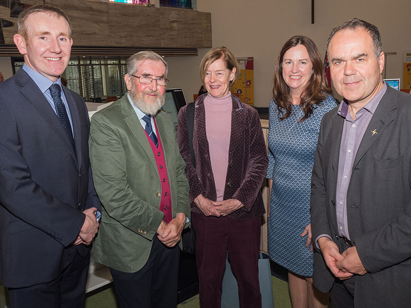 Brian O'Gorman, Athy Heritage Company; Polar theme guest lecturer, John Dudeney; The Hon. Alexandra Shackleton; Aine Mangan, Kildare Fáilte; and Kevin Kenny, Shackleton Autumn School Committee.