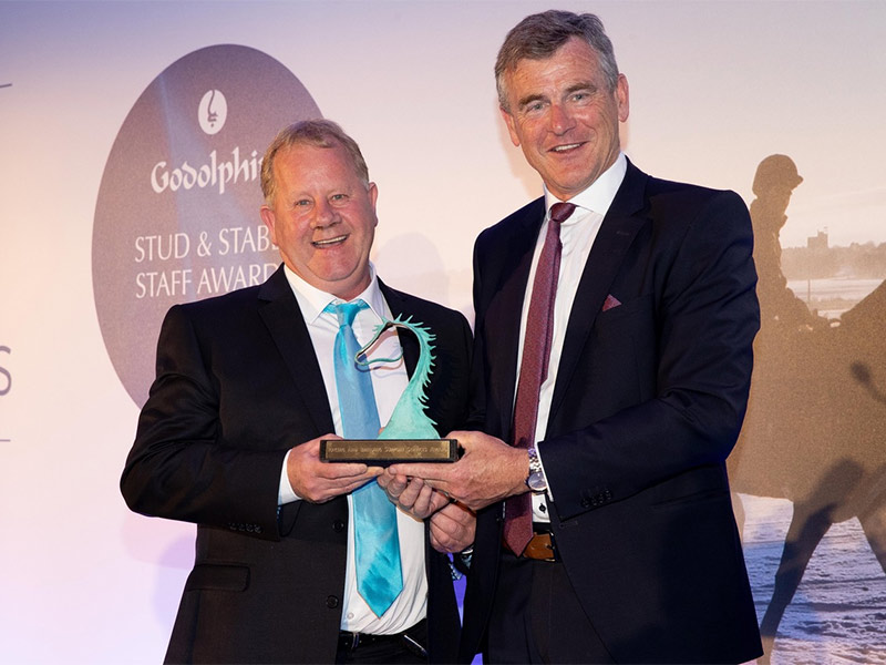The Godolphin Stud and Stable Staff Awards 2018 - Racing and Breeding Support Services Award: Martin 'Snowy' Pearse, Facilities Manager, Punchestown Racecourse, presented by Colm O'Rourke