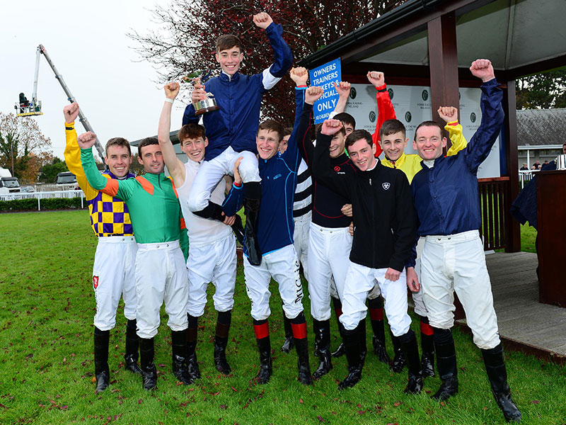 2018 Champion Apprentice Jockey, Shane Crosse, celebrates with his fellow jockeys